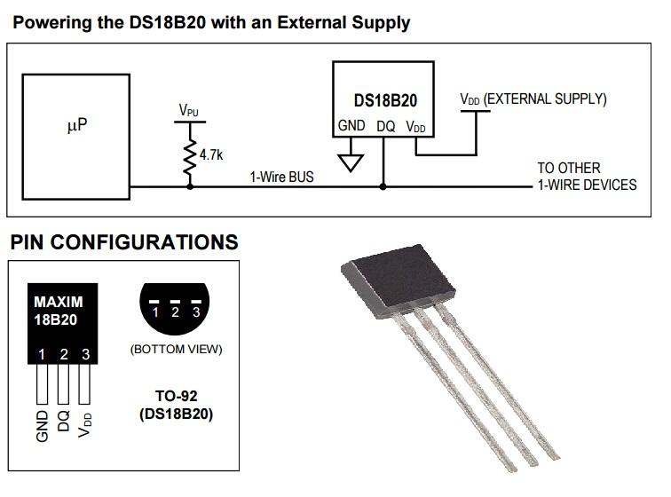 DS18B20 schemat
