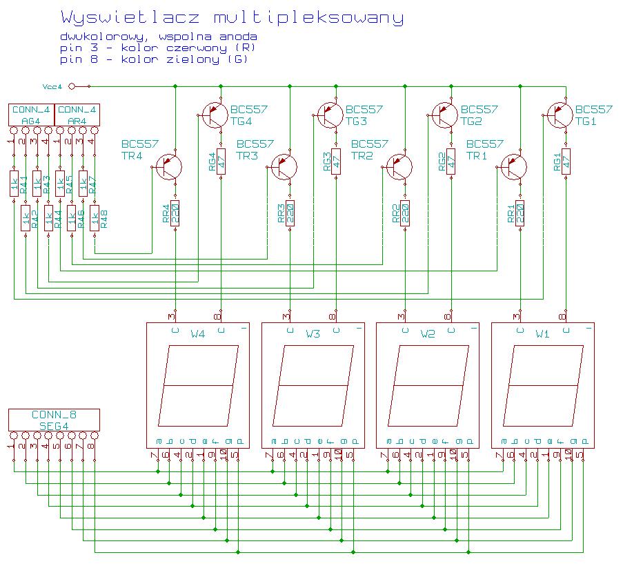 Wyświetlacz multipleksowany schemat