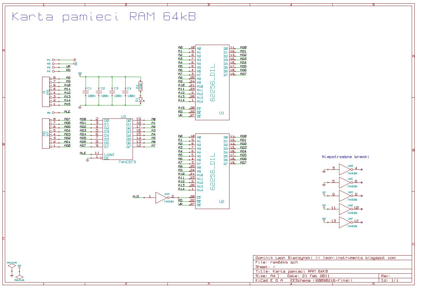 Schemat karty pamięci RAM