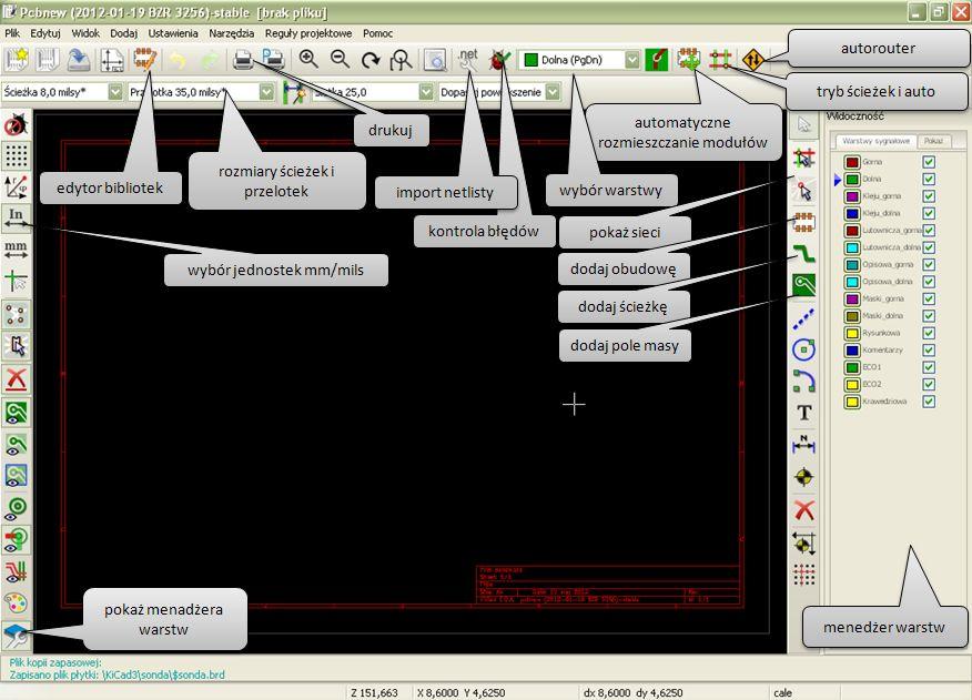 Kicad PCBNEW opis programu