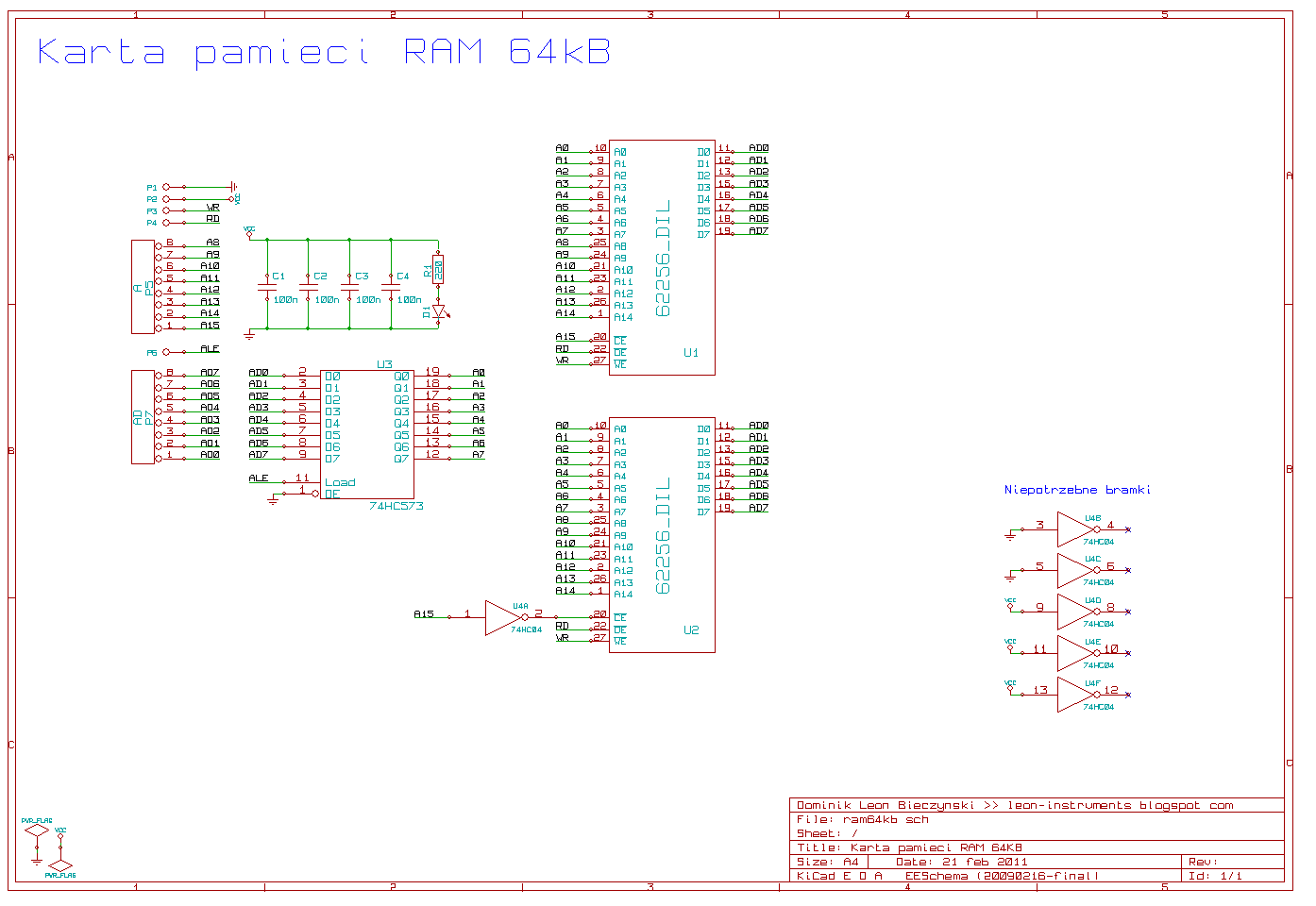 Schemat pamięci RAM