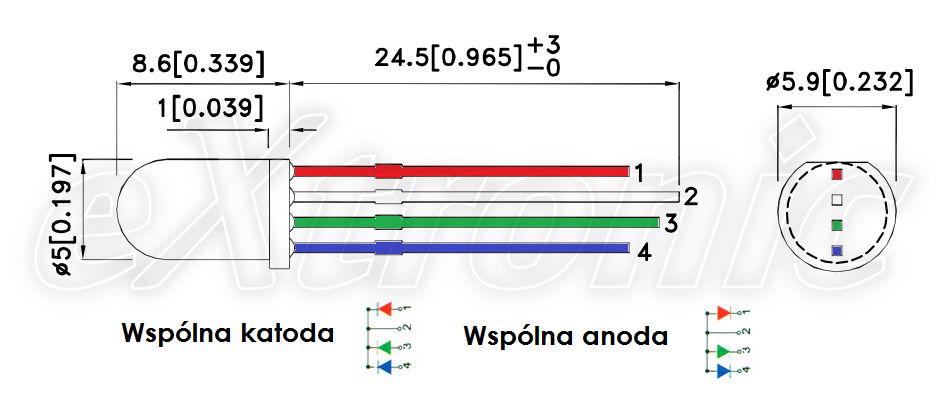 Pinout LED RGB common anoda cathode