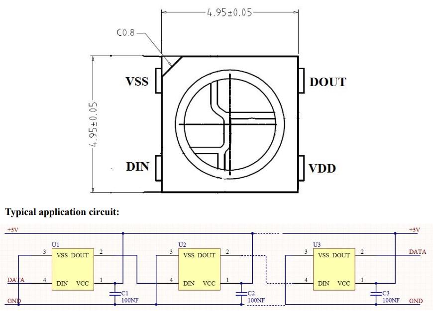 LED WS2812B pinout