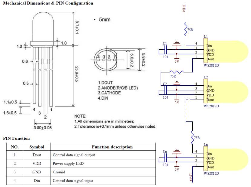 LED WS2812D pinout