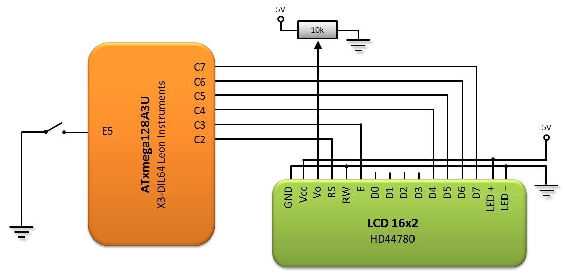 Wyświetlacz LCD HD44780 schemat podłączenia