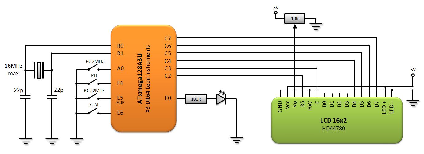 Schemat generatora kwarcowego na XMEGA