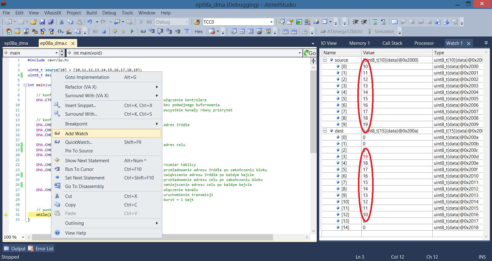Symulacja układu DMA przesyłanie danych do tablicy